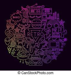 fodra, begrepp, cirkel, ikon, retro