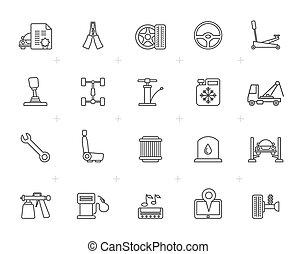 fodra, bil service, och, bil delvis, ikonen