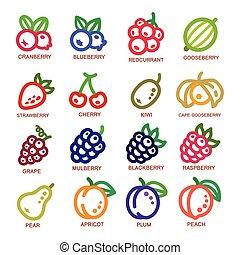 fodra, frukt, ikon, tunn