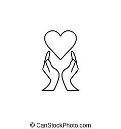 fodra, hjärta, ikon, underteckna, healtcare, räcker