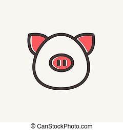 fodra, ikon, gris, tunn, ansikte