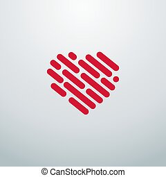fodra, ikonen, logo., hjärta, design, din
