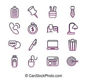fodra, knippe, kontor, sätta, ikonen, stil