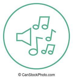 fodra, noteringen, musik, icon., högtalare