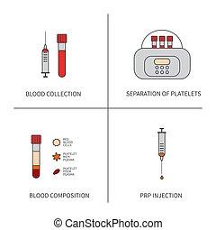 fodra, sätta, plasma, medicinsk treatment, trombocyt, rik