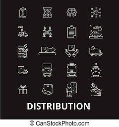 fodra, sätta, skissera, ikonen, editable, fördelning, symboler, bakgrund., vektor, svart, vit, undertecknar, illustrationer