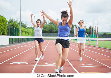 fodra, vinna, slut, lopp, atlet, firar