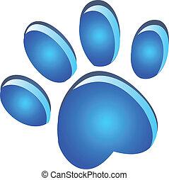 fodspor, blå, pote, logo, glød