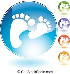 fodspor, krystal, gå, ikon