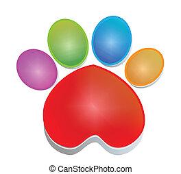 fodspor, logo, hund