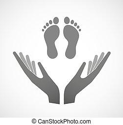 fodspor, vektor, to, offer, hænder