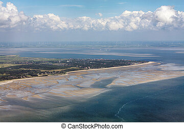 Foehr Island, Aerial Photo of the Schleswig-Holstein Wadden Sea National Park in Germany
