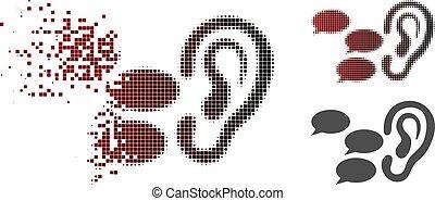 fofocas, halftone, quebrada, escutar, pixel, ícone