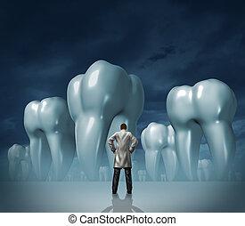 fogász, és, fogászati törődik