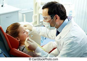 fogász, és, türelmes