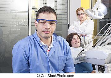fogász, alatt, vizsga hely