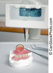 fogász, eszközök, noha, akril, műfogsor, (false, teeth)