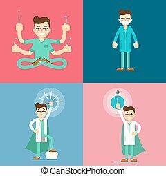 fogász, hím, állhatatos, karikatúra, betűk