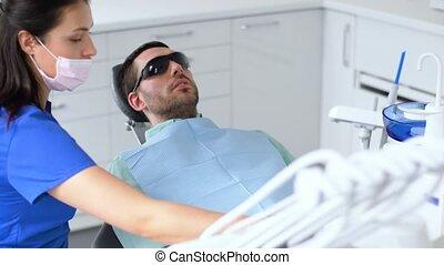 fogász, szabályozó, türelmes, szék, -ban, fogászati, klinika