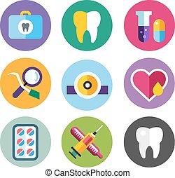 fogászati, állhatatos, jel, klinika, ikonok