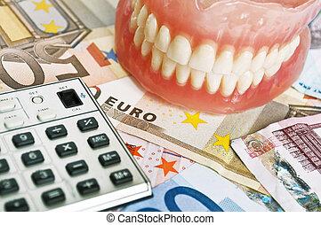 fogászati, kiadások, fogalom
