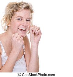 fogászati, nő, hernyóselyem
