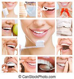 fogászati törődik, kollázs, (dental, services)