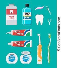 fogászati, takarítás, tools., oral törődik, higiénia, termékek