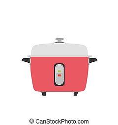 fogão, arroz, vetorial, elétrico, ícone, ilustração, cozinha, alimento, pote, objeto, fundo, lento, isolado, panela