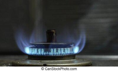 fogão gás, chama azul
