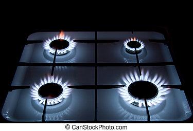 fogão, gás, chamas