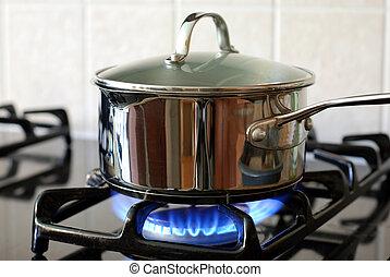 fogão, pote, gás
