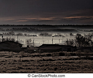 Fog Bank - Thick, mysterious fog bank rolls in on a dark, ...