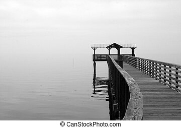 Fog covered dock