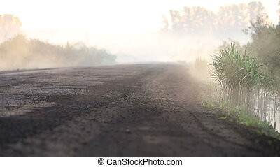 Fog crawls out onto the road - Fog swoops out onto the road