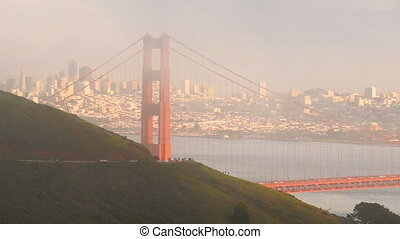 Fog Engulfs Golden Gate Bridge Pacific Ocean San Francisco...