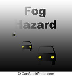fog hazard - cars traveling in heavy fog poster illustration