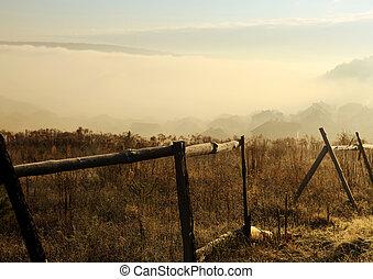 fog in Carpathians at morning