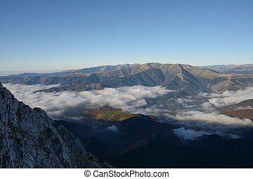 Fog in mountain before sunrise