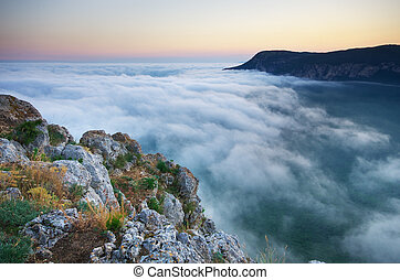 Fog in mountain.