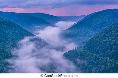 Fog in the Blackwater Canyon at sunset, seen from Lindy Point, B