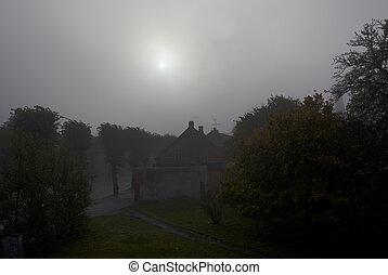 Fog in the morning.