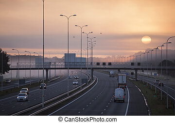 fog in the morning on highway A28 near Utrecht De Uithof -...