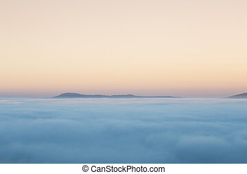 fog in the morning with mountain at Khao Kho, Thailand