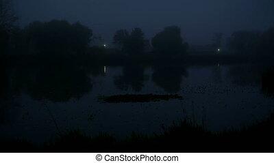 Fog lake morning boat