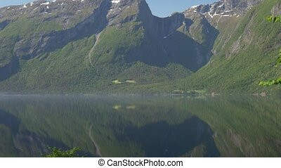 Fog Layer In The Morning, Eikesdalsvatnet Fjord, Norway -...
