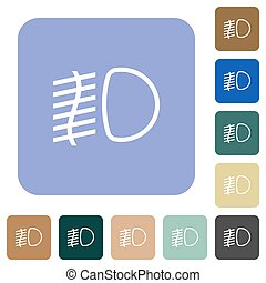 Fog lights white flat icons on color rounded square backgrounds