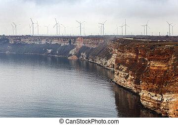 fog., molinos de viento, en, el, mar negro, en, bulgaria, con, el, efecto, de, película, grain., imagen, exposiciones, un, agradable, grano, patrón, en, 100, percent.