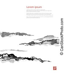 Fog mountains, hand-drawn with ink in traditional Japanese ...