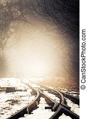 fog on a snowy railway line.